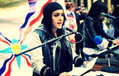 Diana Odisho at the Assyria Revival Rally in Chicago on March 13, 2015. Photo courtesy of Clint Samuel.