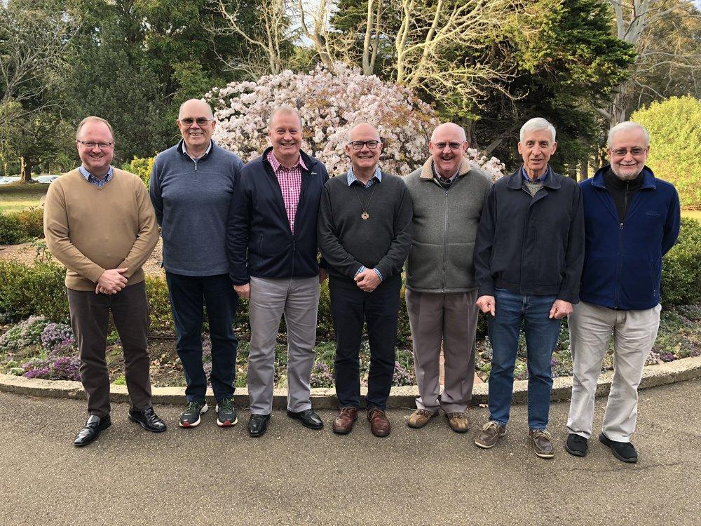 From left to right: Br Greg McDonald, Br Graham Neist, Br Darren Burge (Vice Provincial), Br Peter Carroll (Provincial), Br Jeffrey Barrington, Br Dennis Cooper, Br Peter Rodney