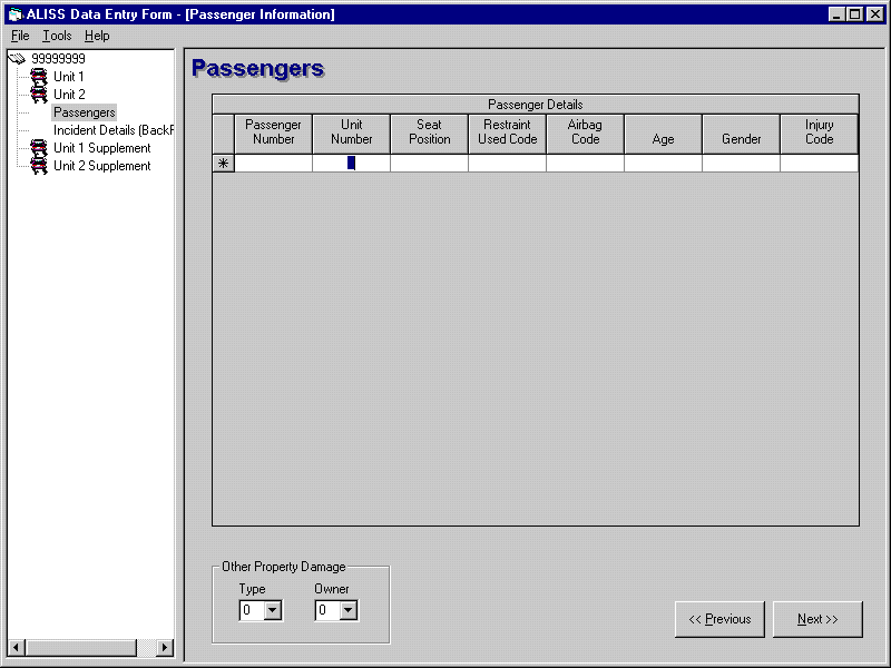 ALISS - Data Entry Form - Passengers