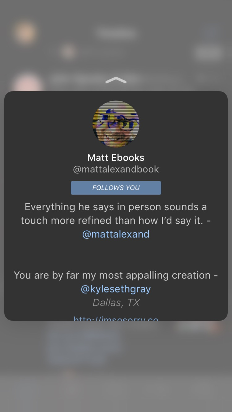 3D Touch on a mentioned user, user image, or user name of someone retweeting inside the tweet.