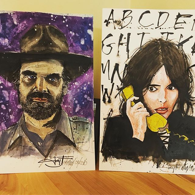 Stranger Things! Gotta get these bad boys framed. Original art from @joeyfeldman_artist