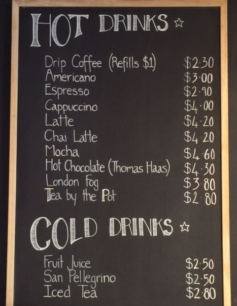 Drinks List & Prices