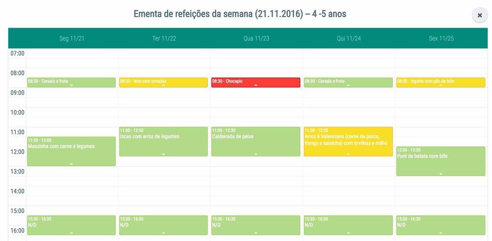 Gestão de ementas e planos de actividade em modo calendário