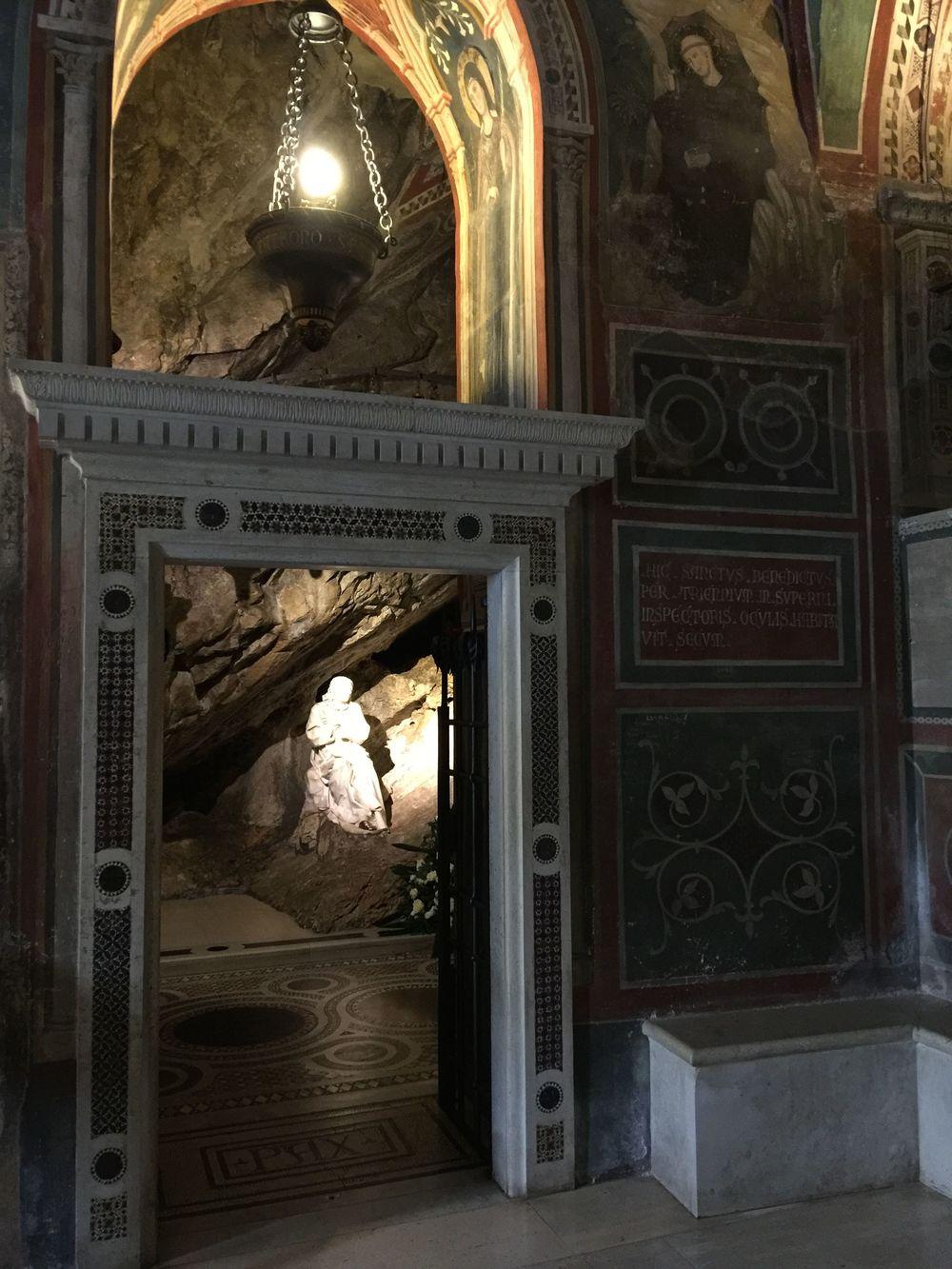 Looking in the door to Benedict's cave.