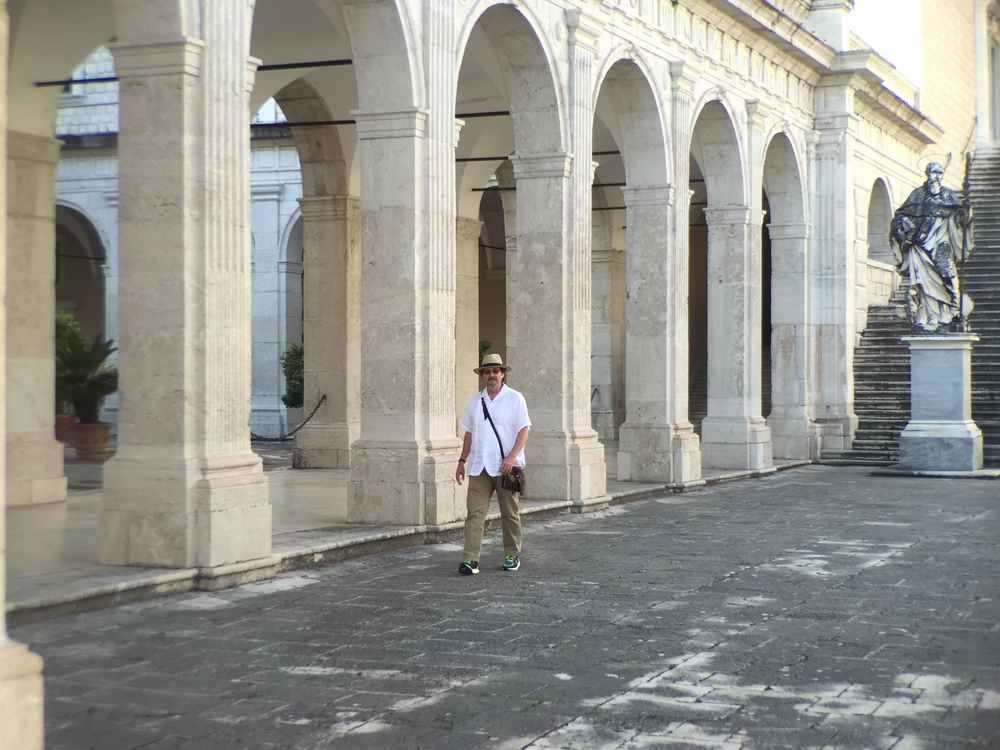 Chuck walking the plaza at Monte Cassino.     (c) 2016, AF @ cloisterseminars.org
