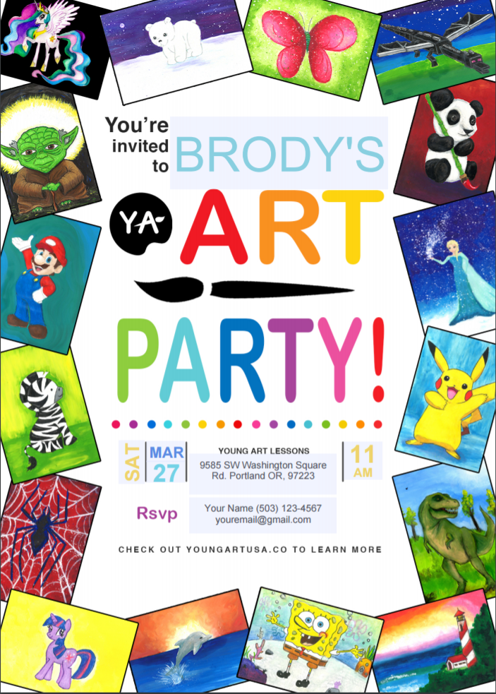 Looking for Customized invitations? - Click the button below to download our editable Young Art birthday party invitation.