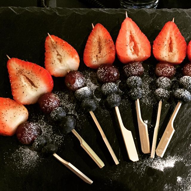 Breakfast on a stick #fruit #strawberry #breakfast #canapes