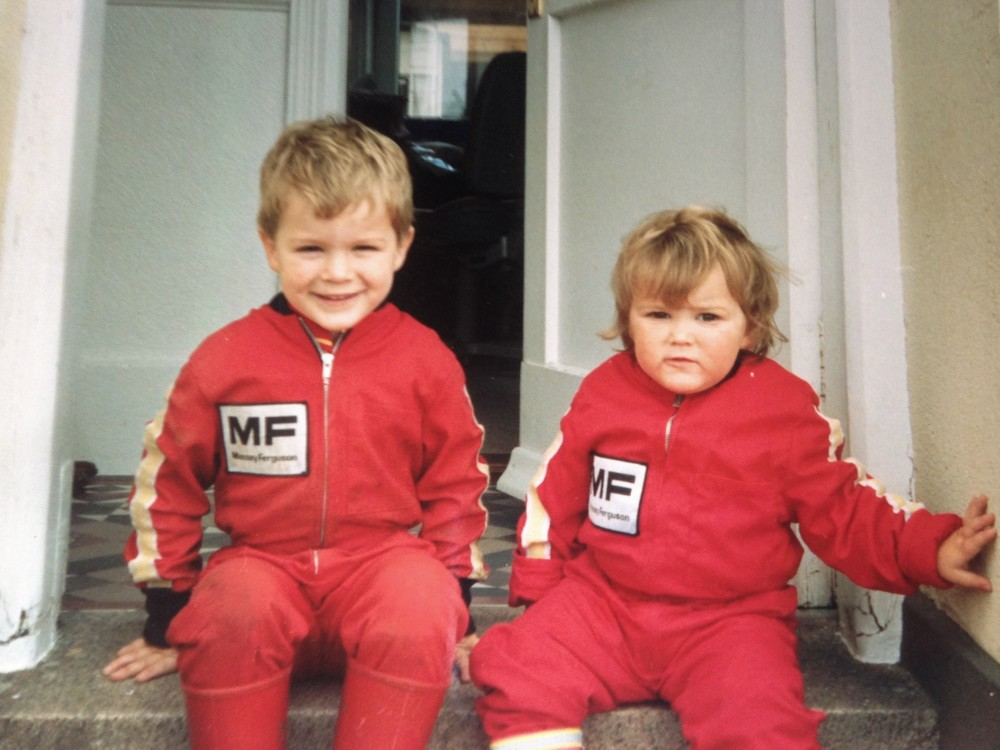 Joe and Grace in their Massy Ferguson overalls - 1991