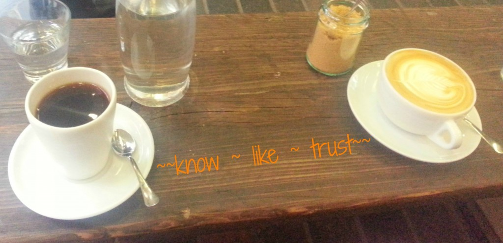 Know Like Trust two coffee cups