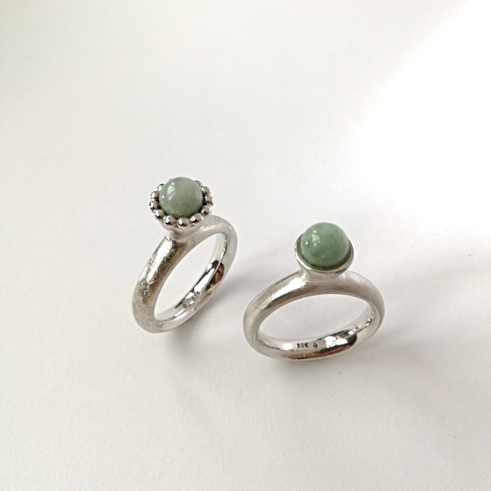 Ring No.8 - Jade / Silber 925 mit Kränzli Fr. 250.00ohne Kränzli Fr. 220.00