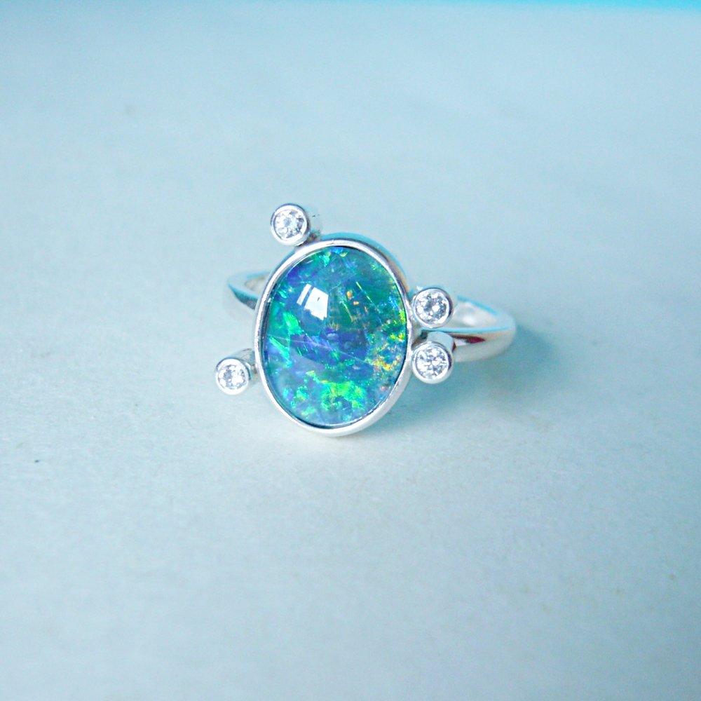 Ring - KundenanfertigungSilber 925 / Opal / Brillanten