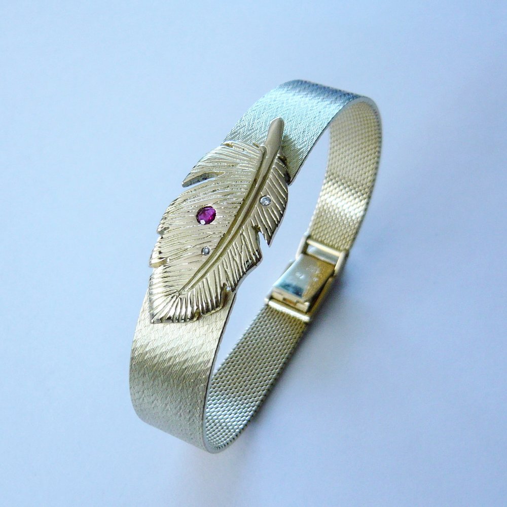 Armband  Kundenanfertigung (Umbau) / Rubin / Brillanten / Gelbgold 750