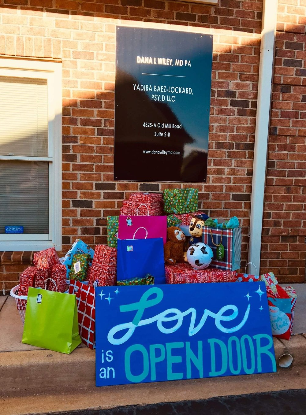 Christmas gifts donated to a family in need.