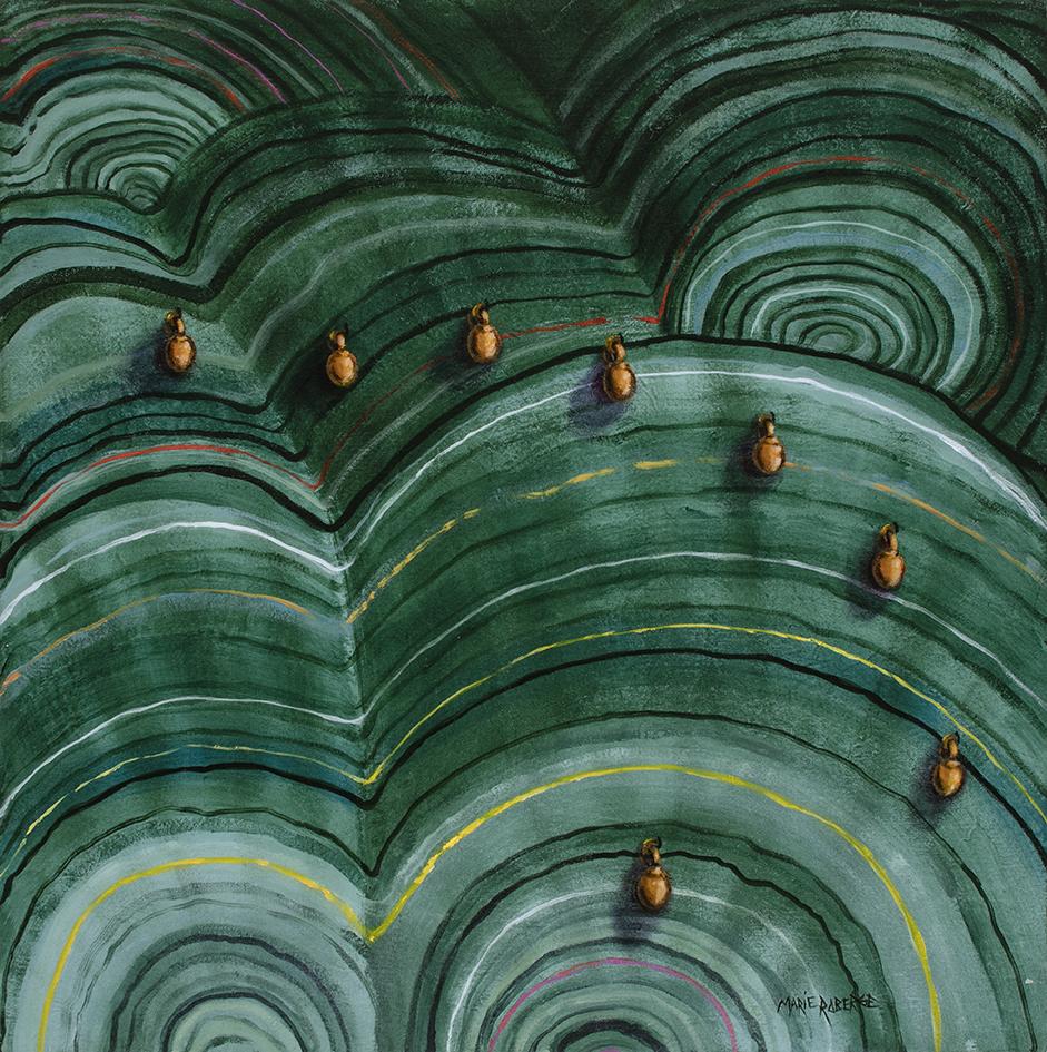 Huit, acrylique sur toile marouflée, 24 pcs x 24 pcs