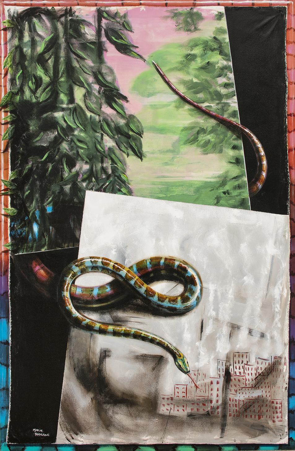 Descente, acrylique sur toile marouflée, 72 pcs x 48 pcs