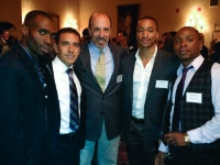 Bruce Mandelbaum with 2012 Olympians. From Left:     Julius Mutekanga; 800 meters.            Leo Manzano, Silver Medalist, 1500 meters. Erison Hurtault, 400 meters. Jeremy Bascom, 100 meters.