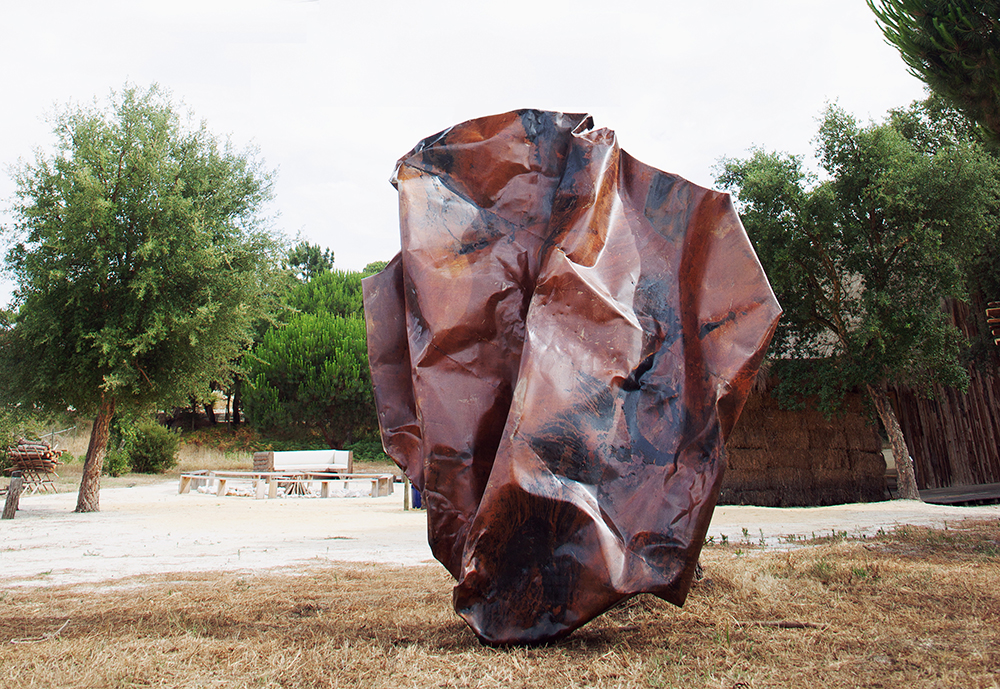 (In)Tension II Curated By Pauline Foessel for (De(Nature, Comporta Portugal 2015, Steel And Acid 3,40 x 2,20 x 1,30 m