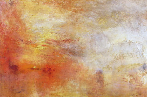 J.M.W. Turner, Sun Setting Over a Lake (1840). Oil on canvas. 91.1 × 122.6 cm, Tate Museum, London.