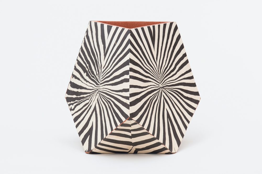 "PENTAGONAL FACET VESSEL III, 2015. HAND-BUILT, GLAZED CERAMIC, 16 X 16 X 16""."