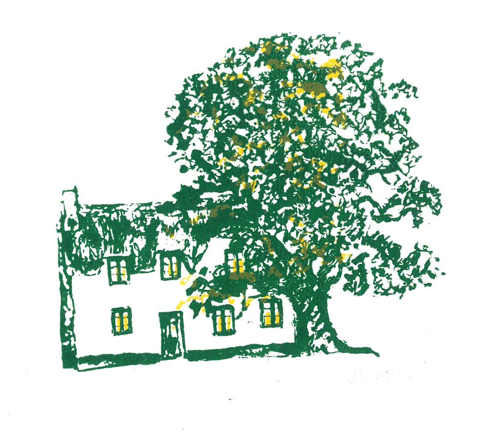 tree, oak and farmhouse