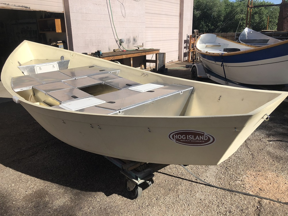 Hog Island drift boat with boxes