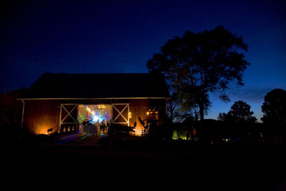 Barn Wedding at Night in Cedar, MI