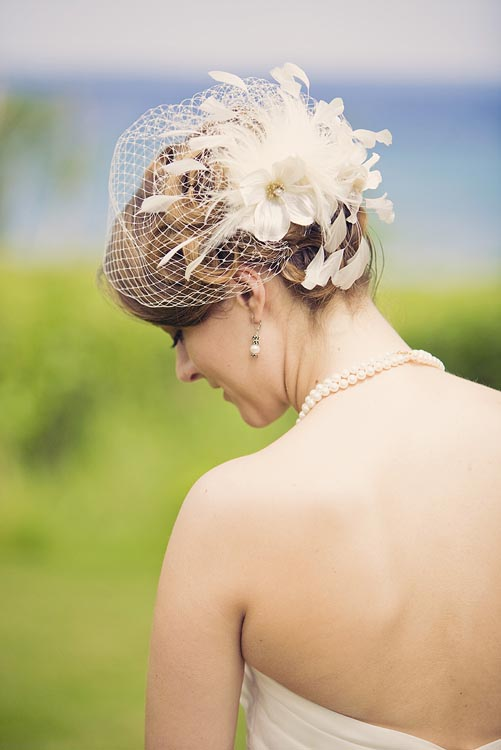 Northport, Michigan wedding, great hair piece, bride with feather hair piece