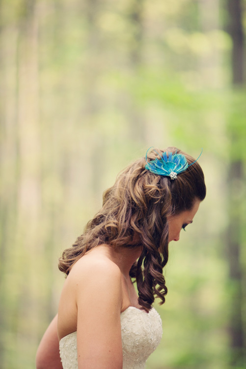 Crystal Mountain, Michigan, Bride with a blue feather hair piece