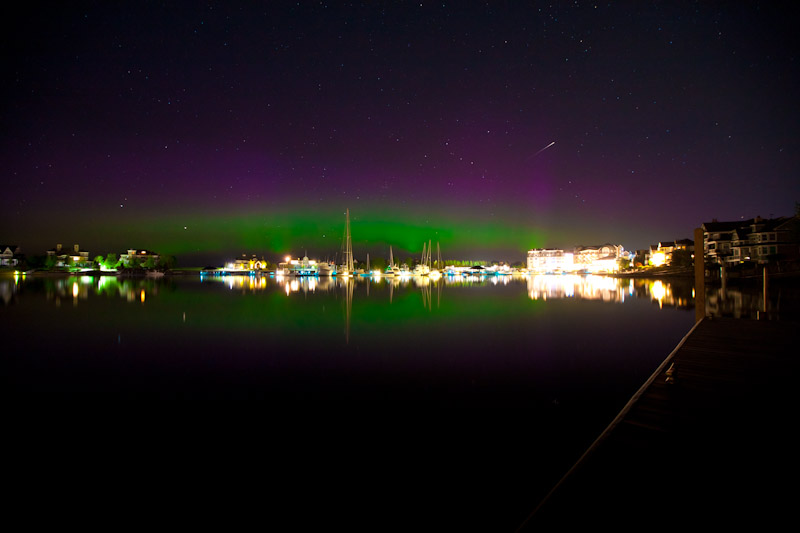 Northern Lights above Bay Harbor Michigan