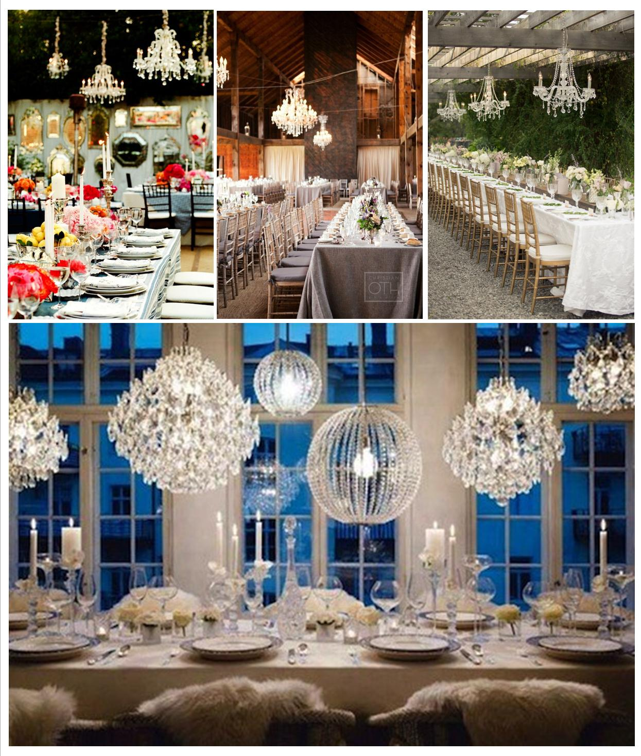 overhead lighting, crystal chandleiers at a wedding