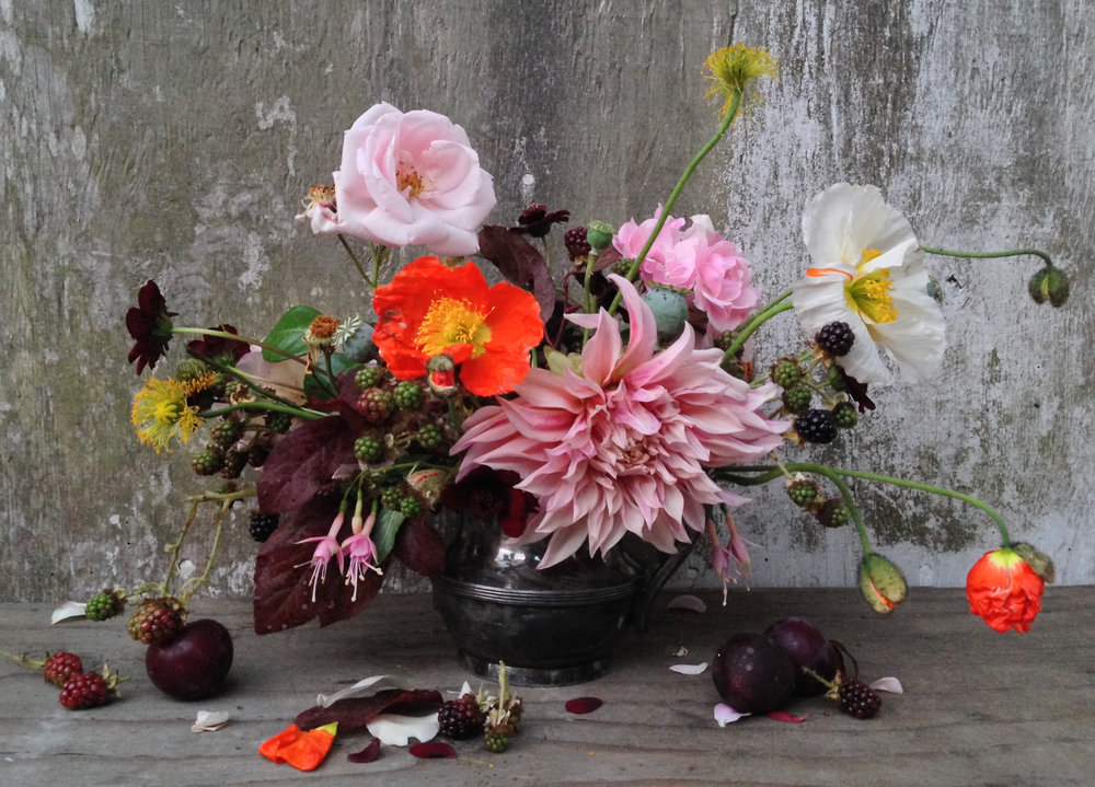 Still life with flowers and fruit by Siri Thorson