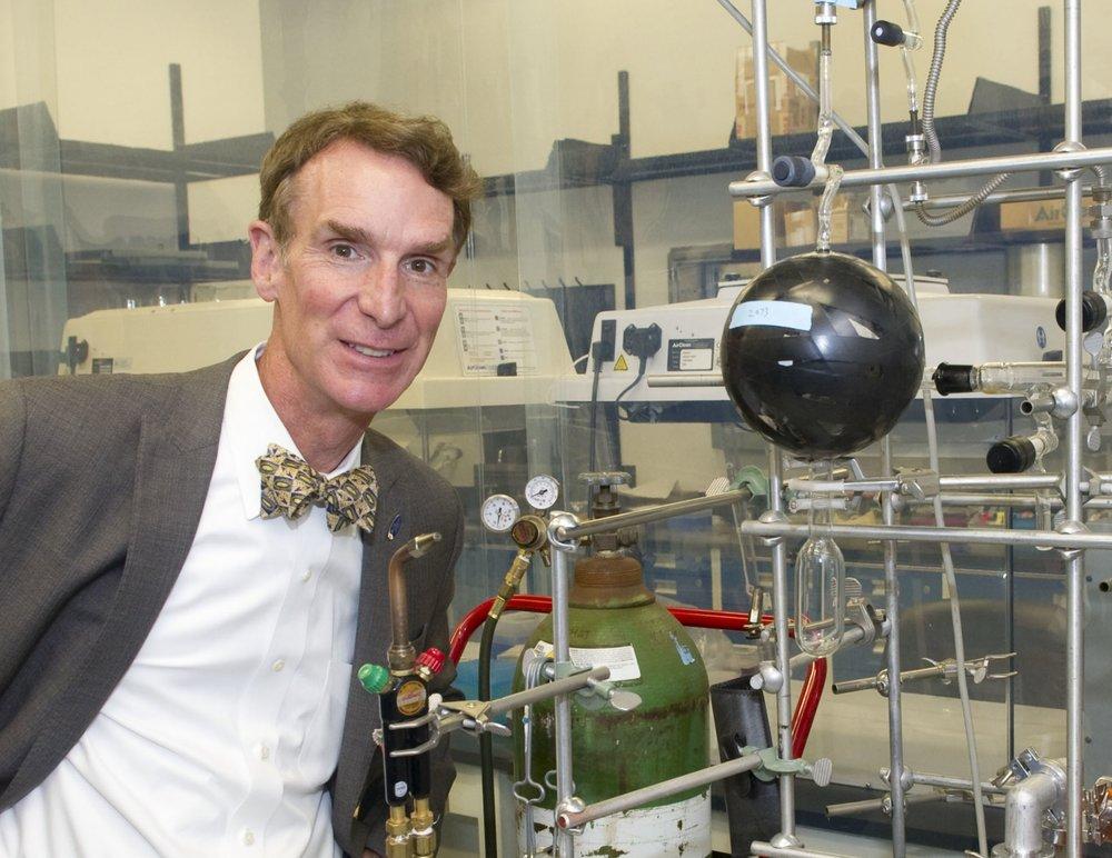 """ Bill Nye visits Goddard Space Flight Center "" by  NASA Goddard Space Flight Center is licensed under  CC BY 2.0 ."