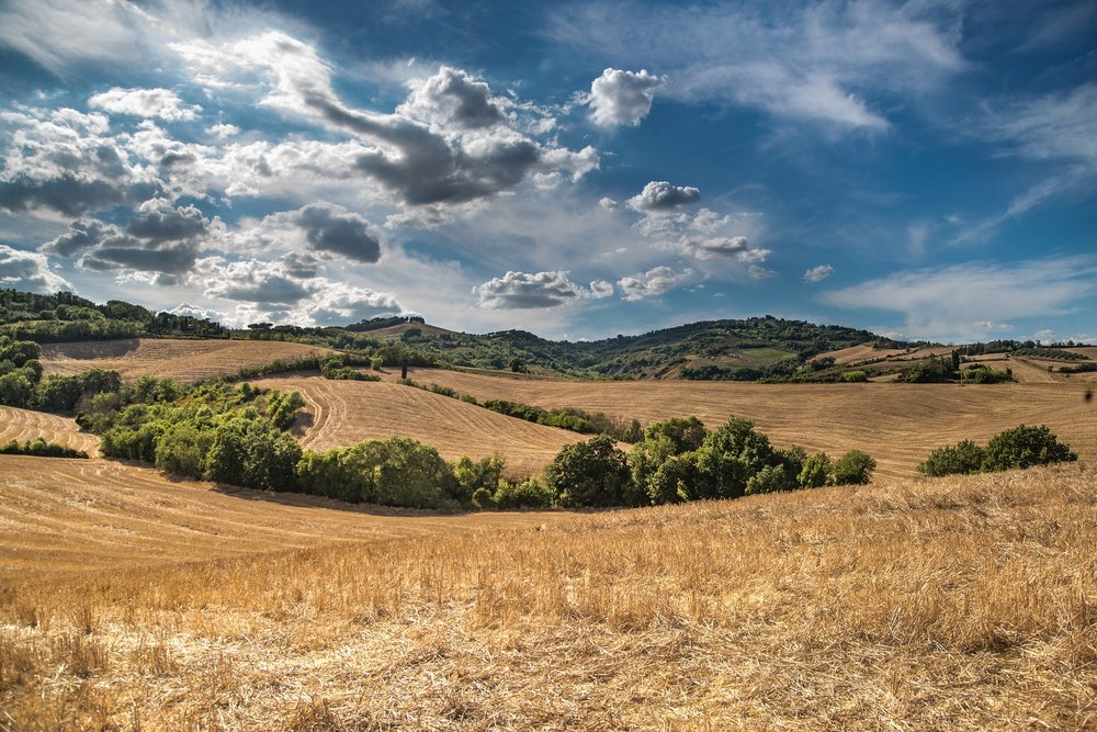 """"""" Hill, Blue Sky, Clouds, Sky, Blue """" by  Rudy and Peter Skitterians  is  Public Domain ."""