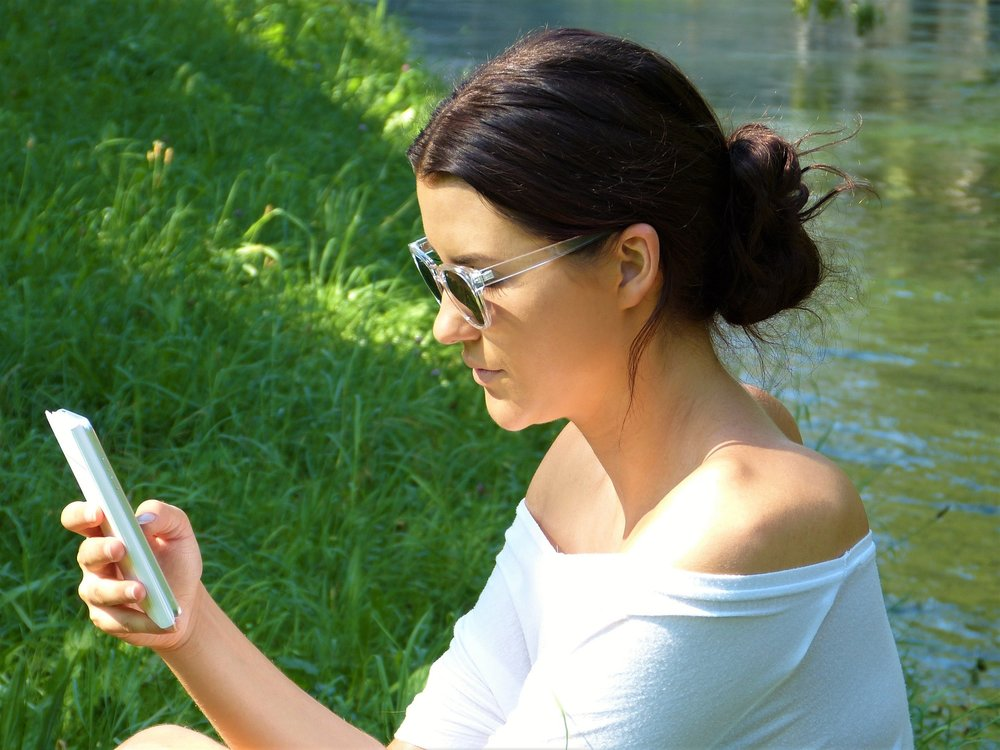 """"""" Woman, Girl, Young, Mobile Phone """" by  Silvia  is  Public Domain ."""
