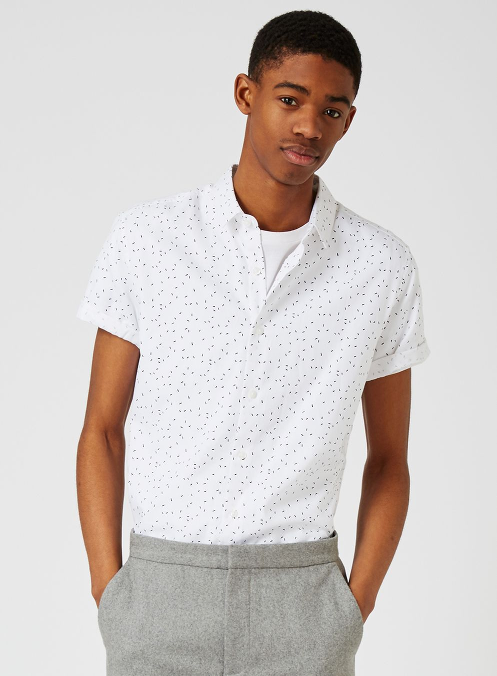 4. Topman - $50   White and Black Flecked Shirt
