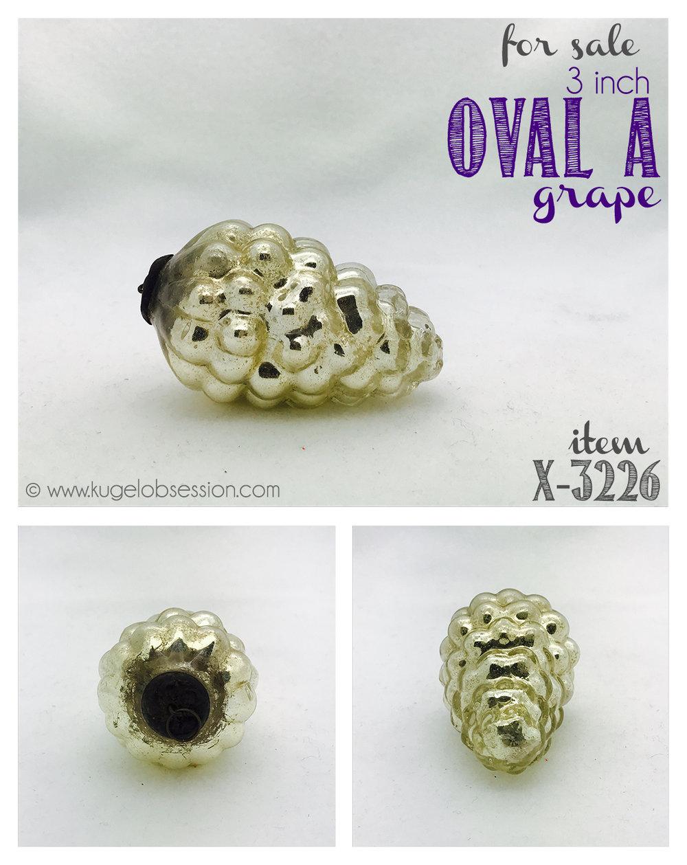 """antique kugel christmas ornament for sale X-3226"""" silver oval A grape #kugelforsale #antiquekugel #christmasornament #kugelobsession"""