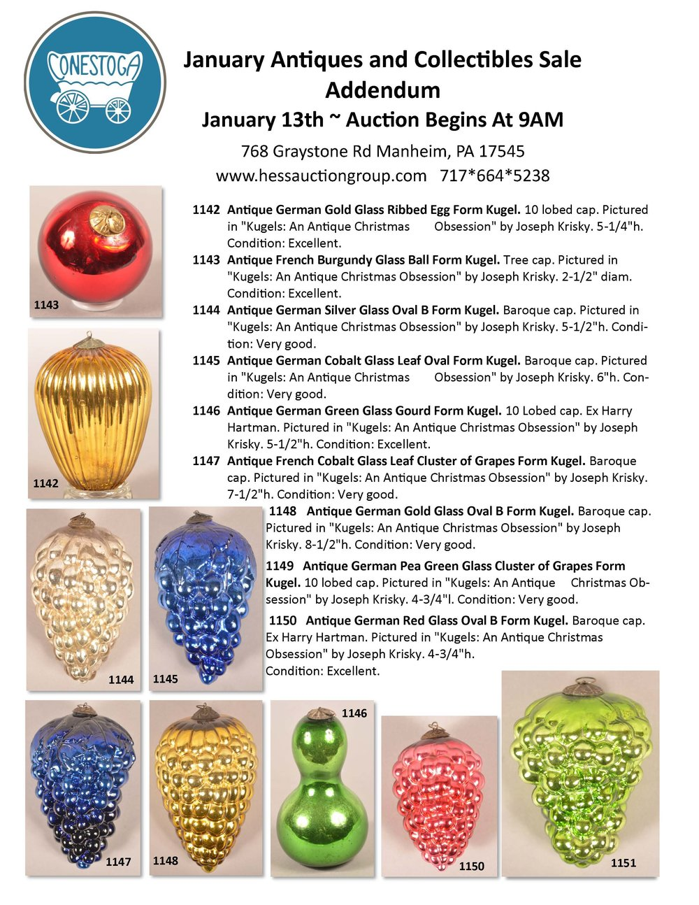 antique kugel Christmas ornaments for sale at auction, Conestoga Auctions, Manheim, PA January 13, 2018