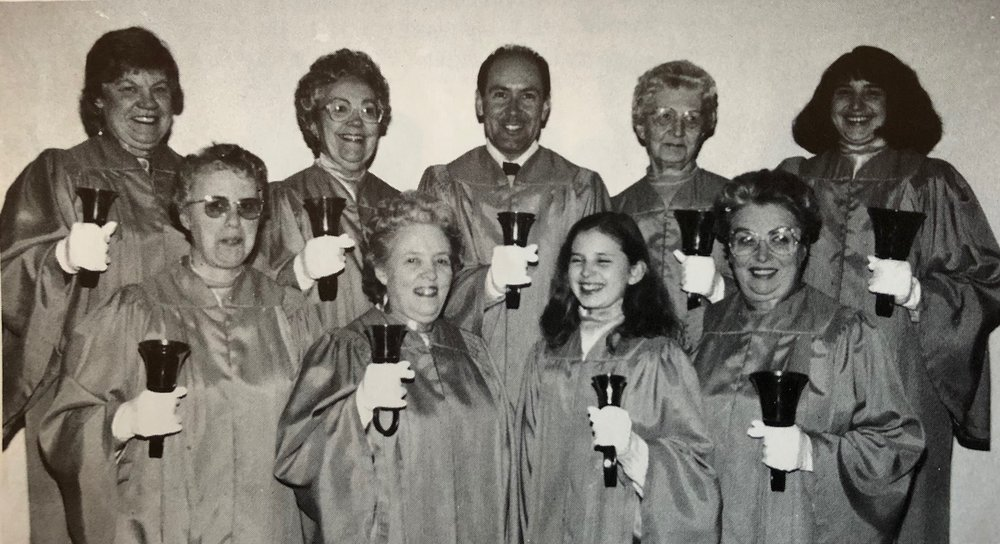 Hand Bells 1991 – Adult Group Back row L-R:  Marcie Johnston, Marie Henderson, Blaire Fisher, Doris Gibson, Lori Cox  Front row:  Gwen Buchanan, Phyllis Thompson, Janet Cox, Donalda Corry