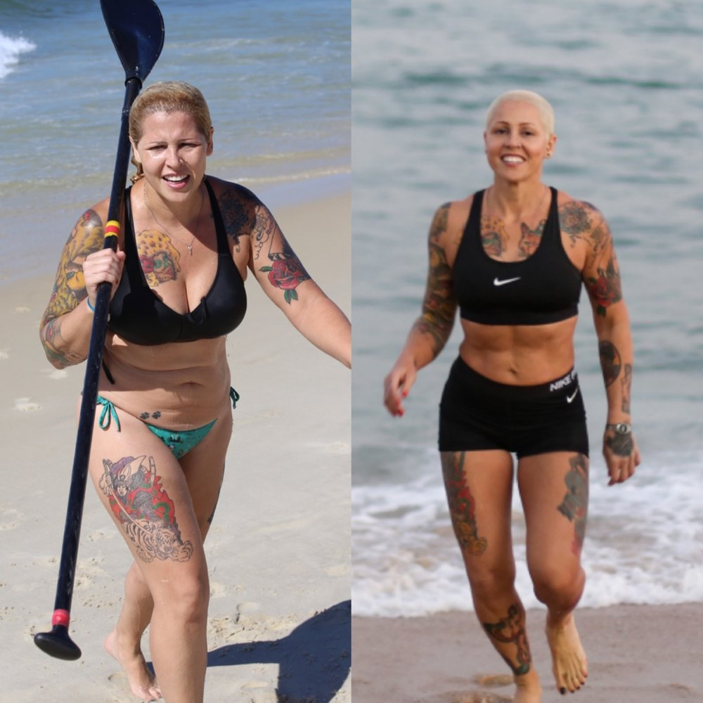 """Alice Vieira :Já chegou a pesar 90kg devido a uma vida totalmente sedentária.Hoje em dia com 62 kg, ela diz que seu maior ganho foi recuperar sua auto-estima.""""O mais inacreditável é pensar que a um tempo atrás eu estava pedindo por ajuda pois já não sabia mais o que fazer, e hoje em dia, recebo milhares de mensagens falando o quanto minha história inspira as pessoas!"""""""