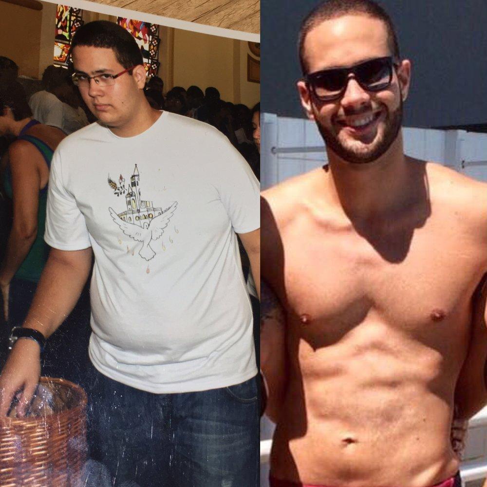 """David Viana : """"O mais difícil foi acreditar que eu era capaz de dar o primeiro passo. Achei no Crossfit uma maneira prazeirosa de me exercitar e consegui emagrecer 40kg. Hoje uso os treinos para aumentar minha massa magra e ganhar força."""""""