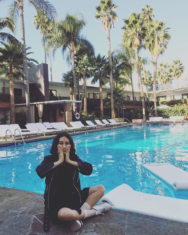 Why is everything in LA so LA? #poolside #morning #poolparty #LosAngeles #matherystudio #palms #pooloftears