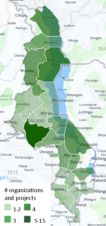 Density of permaculture organizations and projects by district in Malawi. 2014.