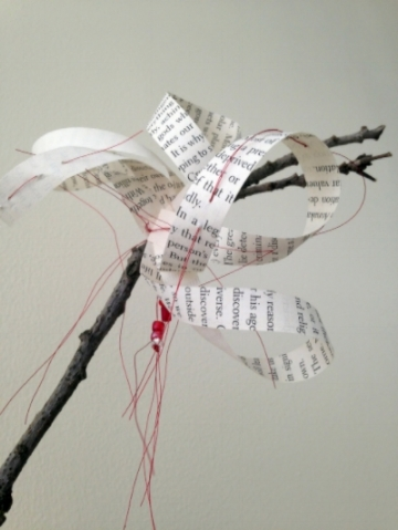 Chinese Brush Painting: Blossom, Detail (This Will Change Everything I) book pages, branches. metallic thread, beads