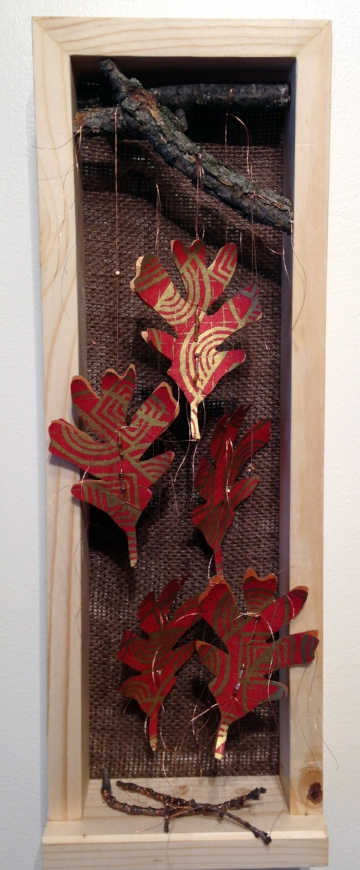 Oak Reinvented: Paper Becomes Tree Red II (Private Collection) handmade Nepalese lokta paper, commercially produced paper, branches, wood, metallic thread, beads