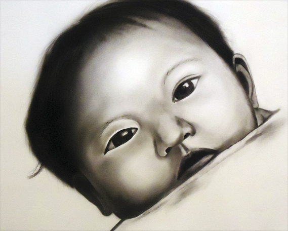 Thai Baby, charcoal on paper