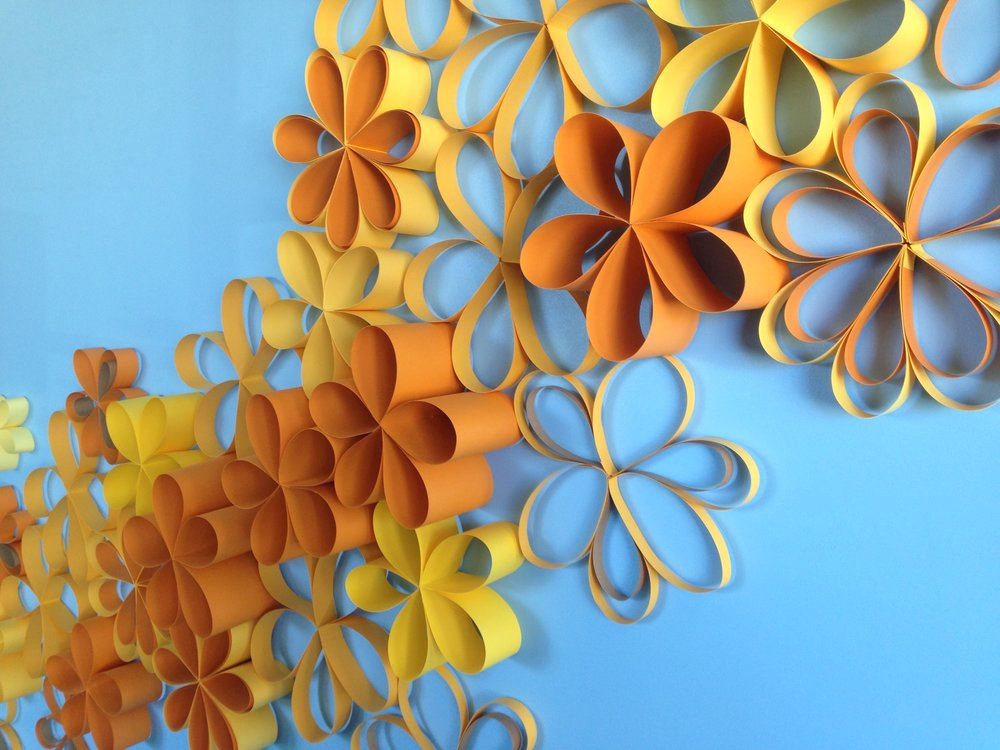 Summer Whispers, handmade paper flowers, installation