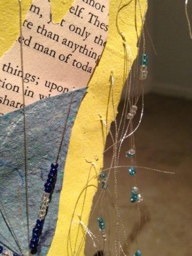 Sail Far, Far Away, detail, iron rod, handmade papers, book page, metallic thread, beads