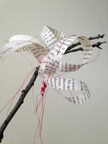 Chinese Brush Painting: Blossom (This Will Change Everything I), detail, book pages, branches. metallic thread, beads
