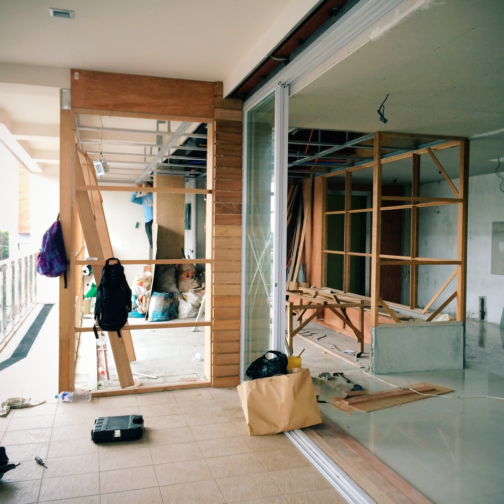 The bare bones. W e had to extend over the balcony s ince we had such a small space to work with.