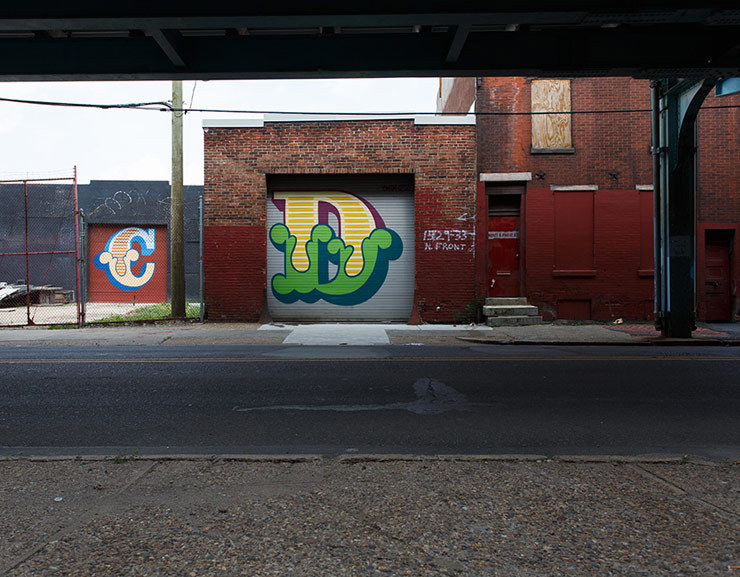 Ben Eine. Two in a series of thirty-eight murals commissioned by Mural Arts Philadelphia. Philadelphia, PA. 2015. Photo by Steve Weinik. (project manager)